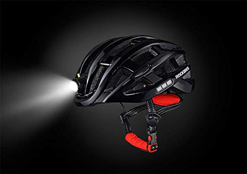 Lxhff Motorcycle Helmet with The Bicycle Warning Light Emitting Insect Mountain Road Men Riding Breathable Helm (Color : Black) from Lxhff
