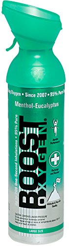 95% Pure Oxygen Supplement, Portable Canister of Clean Oxygen, Increases Endurance, Recovery, Mental Acuity and Performance (10 Liter Canisters, 12 Pack, Aqua, Menthol-Eucalyptus)