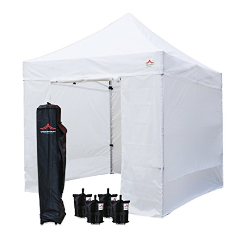 - UNIQUECANOPY 8x8 Canopy Tents for Parties Portable Instant Folded Commercial Popup Shelter, with 4 Zippered Side Walls and Wheeled Carrying Bag Bonus 4 Sandbags White