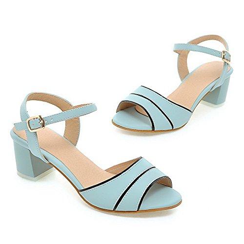Amoonyfashion Kvinna Lackläder Spänne Öppen Tå Kattunge-heelsassorted Färg Sandaler Blå