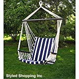 Cheap Deluxe Harmony Blue and White Hanging Hammock Sky Swing Chair
