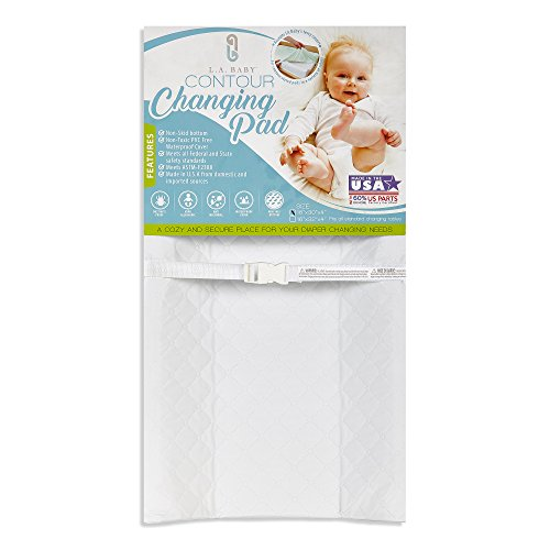 "LA Baby Waterproof Contour Changing Pad, 32"" - Made in USA. Easy to Clean w/Non-Skid Bottom, Safety Strap, Fits All Standard Changing Tables/Dresser Tops for Best Infant Diaper Change"