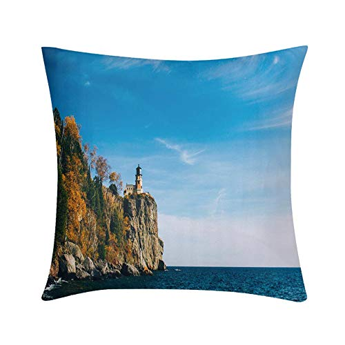 - HooMore Luxury Custom Art Design Photos Throw Pillow Split Rock Lighthouse Design for Sofa Bedroom Office Car Decorate Pillow