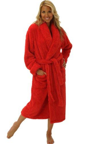Del Rossa Womens Fleece Robe, Plush Microfiber Bathrobe, Large XL Red (A0302REDXL)