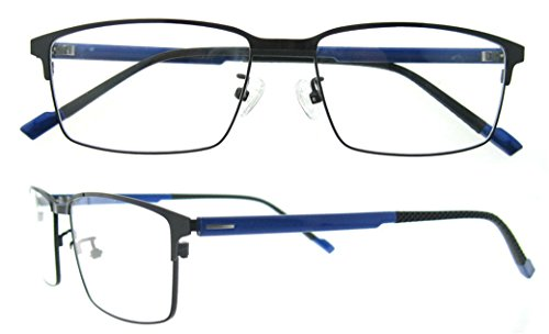 OCCI CHIARI Rectangle Full-Rim Metal Optical Glasses Acetate Arm For Bussiness Men (New Blue, - Men New For Glasses