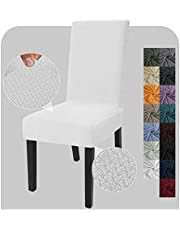 JIVINER Stretch Chair Covers for Dining Chairs Set of 4 Decorative Jacquard Dining Room Chair Covers Washable Kitchen Chair Slip Covers for Dining Room, Hotel, Party (4, Off White)