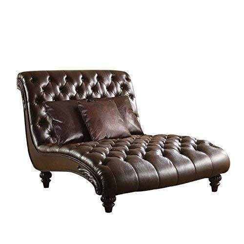acme AC-15035 Chaise w/3Pillows 2-Tone Brown PU