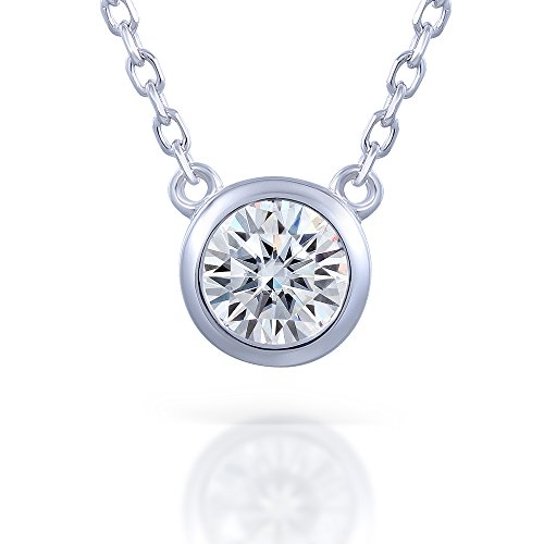 1 Carat 6.5MM H-I Color Moissanite Diamond Solitare Pendant Necklace With 925 Silver Chain for Women (Diamonds Moissanite)