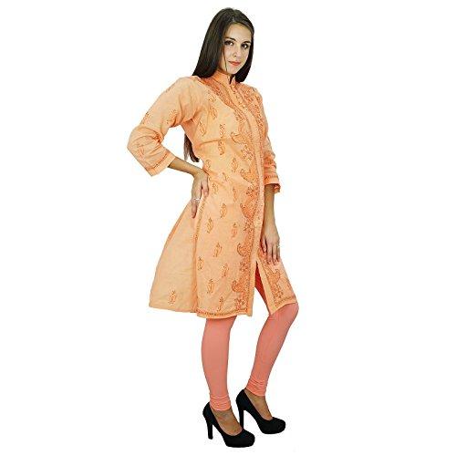 Algodón de India étnicas Kurti diseñador Chikan bordado Mujeres Kurta Naranja y Brown