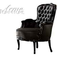 ACME 59148 Cain Accent Chair, Black Frame and Black PU Finish