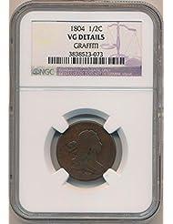 1804 P Draped Half Cent VG Details NGC