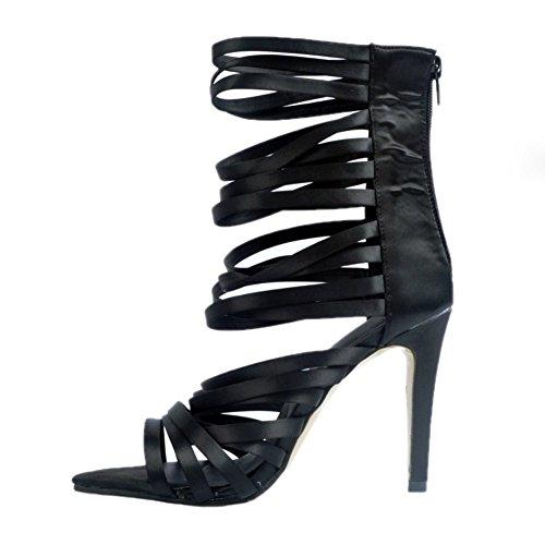 Sandales à Femmes cheville la Sexy Shoes Summer à Party ouverts à Découpe Kolnoo talons Fashion Black hauts talons main Chaussure et à faits dE5TwqZ0