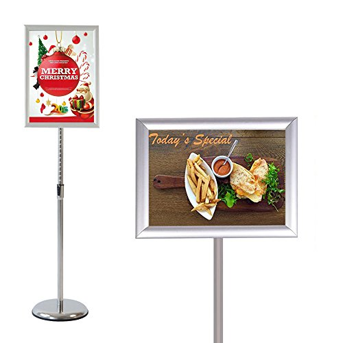 S-Display Poster Sign Holder Floor Stand Pole Height Adjustable Tilting Snap Open Frame for 8.5 x 11 inches Posters (Silver) (Showroom Ground Floor)