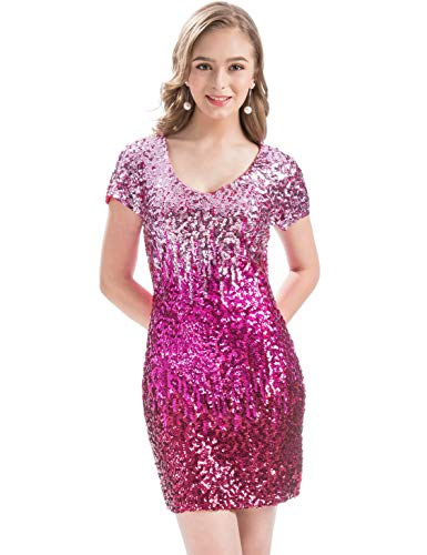 MANER Women's Sequin Glitter Short Sleeve Dress Sexy V Neck Mini Party Club Bodycon -
