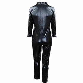 - 41SpsY0MJGL - FEESHOW Men's Wet Look PVC Leather Like Zipper Catsuit Jumpsuit Costumes