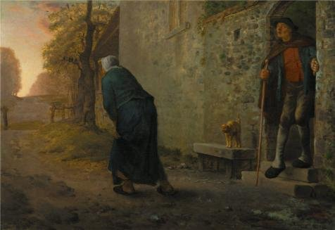 Oil Painting 'Jean Francois Millet,Waiting,1860', 20 x 29 inch / 51 x 74 cm , on High Definition HD canvas prints is for Gifts And Home Office, Laundry Room And - Sunglasses 1860