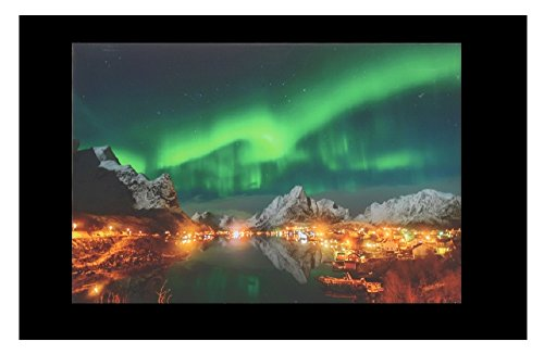 LED Painting Lighting Canvas Wall Art The Picture For Home Decoration, Print On Canvas Artwork For Wall Decor, Night View of Aurora, Optical - Optical Venice