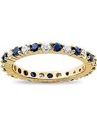 1 1/2ct Diamond Sapphire Eternity Ring 14K Yellow Gold