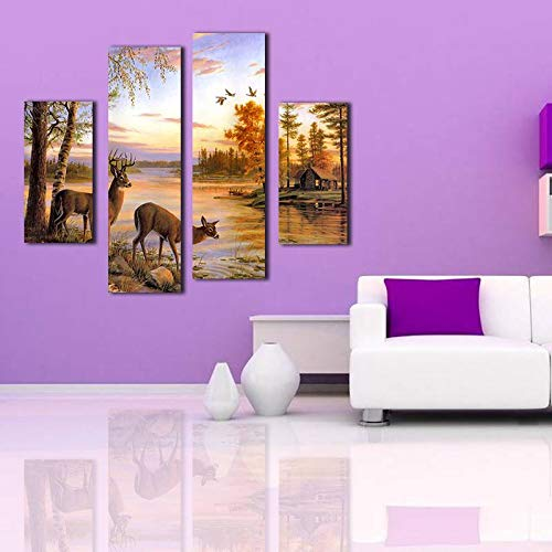 Unframed Modern Oil Painting Deer By The Lake Huge Wall Decor Art On Canvas