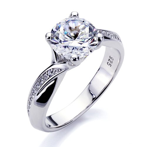 Sterling Silver Round Brilliant Cut 2 Carat Simulated Diamond Engagement Ring