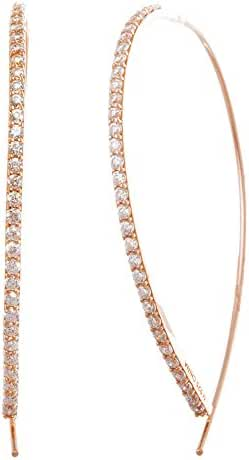 Women's Sterling Silver Cubic Zirconia Curved Bar Pull Through Earring Gold or Silver