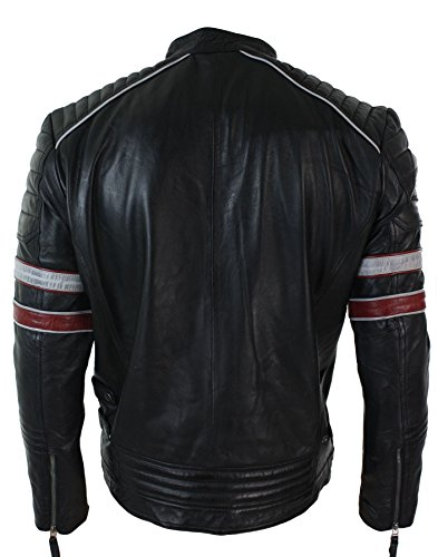 Fit Red Leather Black White Real Racing Aviatrix Casual Jacket Mens Stripes Biker wHWqZPA