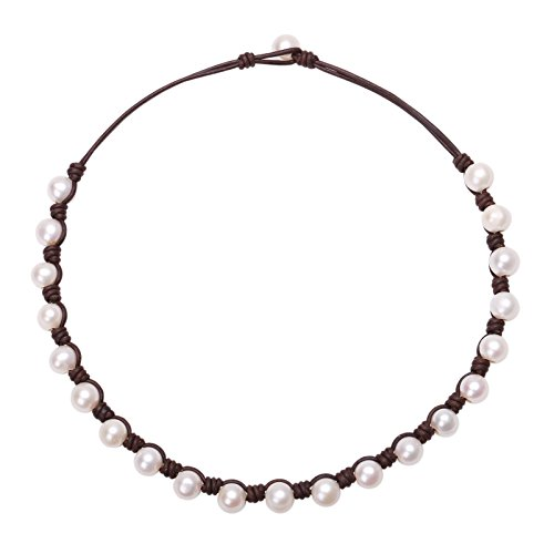 PearlyPearls Freshwater Pearl Choker Necklace on Brown Leather Cord Jewelry for Women 16''