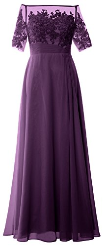 Macloth Gown Evening Off Women Shoulder Mother Bride Dress Half Of Eggplant Sleeve Lace 354ALqcRj