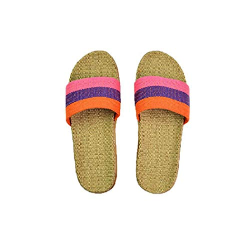 Nafanio Flax Bathroom Slippers Anti-Slip Linen Summer Striped Women Indoor Home Shoes Bedroom Flats