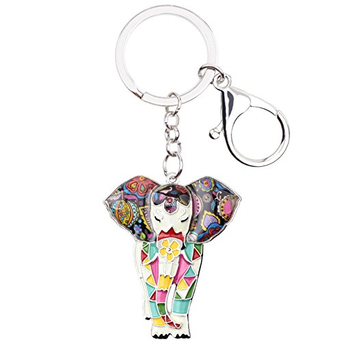 BONSNY Enamel Metal Chain Jungle Elephant Key Chains For Women Car Purse Handbag Charms (White) -