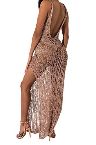 AKIRA Women's Metallic Crochet Loose Knit Plunge Open Back Sleeveless Swim Cover Maxi Dress-Rose Gold_L