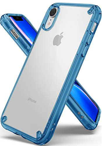 Ringke Fusion Compatible with iPhone XR Case, Clear Transparent PC Back TPU Bumper [Drop Defense] Raised Bezels Scratch Protection Natural Form Cover for iPhone XR 6.1 (2018) - Aqua Blue