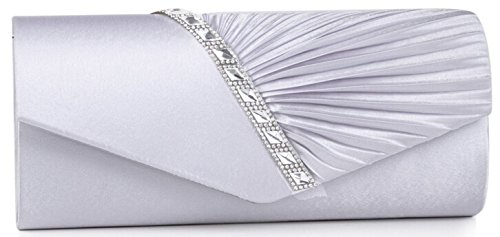 ELEOPTION Fashion Women's Clutch Purses Evening Bags With Elegant Pleated Satin Rhinestone Clutch Handbags Evening Bag With Chain Strap (Silver)