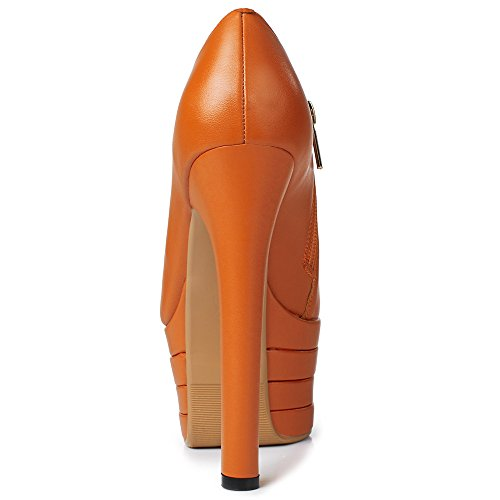 Platform Super Leather Handmade Pump Zipper Heel Round Genuine Style Toe Shoes Heel High Nine Women's High Sexy Orange Seven vqFPwP