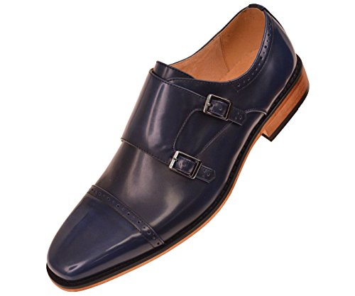 Amali Mens Navy Blue High Gloss Smooth Double Monk Strap Cap Toe Dress Shoe w. Woodlike Sole: Baker-002