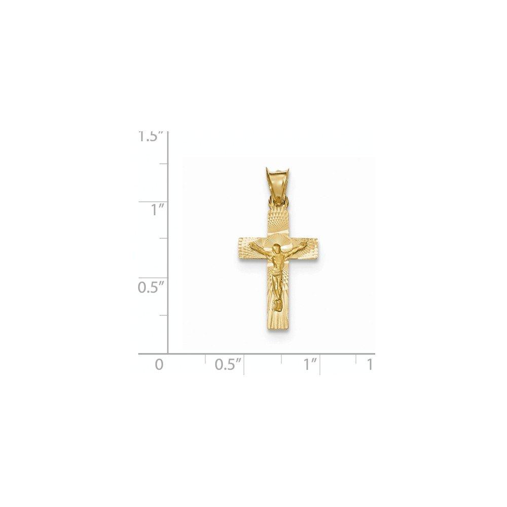 14k Yellow Gold Polished Satin and Diamond Cut Crucifix Pendant
