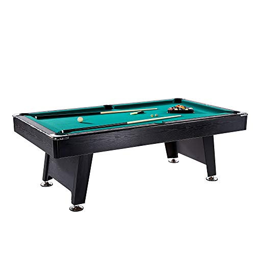 Lancaster 90 Inch Game Room Billiards Green Felt Pool Table with Balls and Cue ()