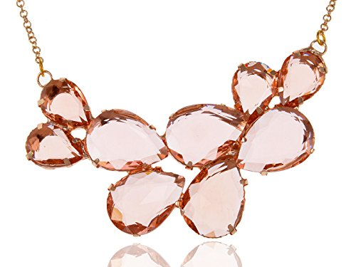 Alilang Rose Gold Champagne Tone Crystal Teardrop Cluster Chunky Statement Bib Pendant Necklace (Necklace Crystal Bib Tone)