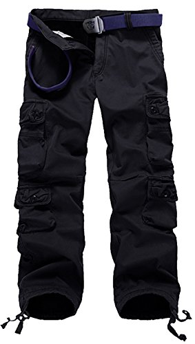 AOYOG Thicken Mens Winter Fleece Lined Cargo Pant Windproof Work Pants(black #3), 36W33L