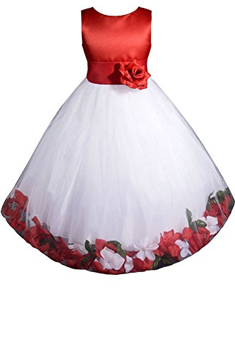AMJ Dresses Inc Girls Red/white Flower Girl Christmas Dress Size 8