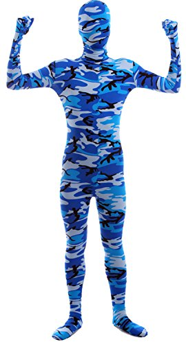 VSVO Second Skin Zentai Full Body Costume (Kids Medium, Camo Blue)