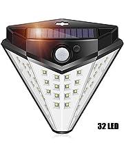 ACUMSTE lámpara Solare de Pared con Sensor de Movimient 32 Led Lámpara Solare para Exteriores Impermeable IP65 Apliques de Exterior Interior Auto ON/OFF para Patio, Terraza, Paso, Jardín, Moderno