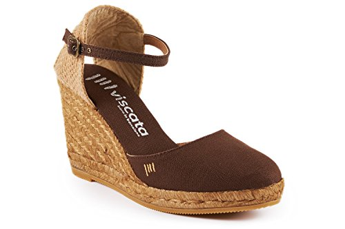 VISCATA Satuna Ankle-Strap, Closed Toe, Classic Espadrilles with 3-inch Heel Made in Spain marrón
