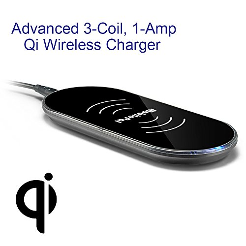 MobilePal 3-Coil Qi Wireless Charger Pad for iPhone 8/8 Plus/X and Samsung Galaxy Series -2A USB AC Adapter Included (Black)