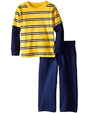 Baby and Little Boys' Striped Long-Sleeve Top and Pant Set