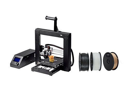 Monoprice Maker Select 3D Printer v2 with Premium 3D Printer Filament PLA 1.75MM 1kg, 3 Spool Bundle (Black/White/Wood) by