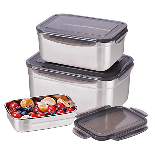 Sumerflos Large Stainless Steel Food Container - Set of 3 Sizes (Total Capacity: 6400ml/220oz) - Reusable Storage Container Set with Leakproof Lids - for Kimchi, Fruit, Salad, Outdoor Picnic