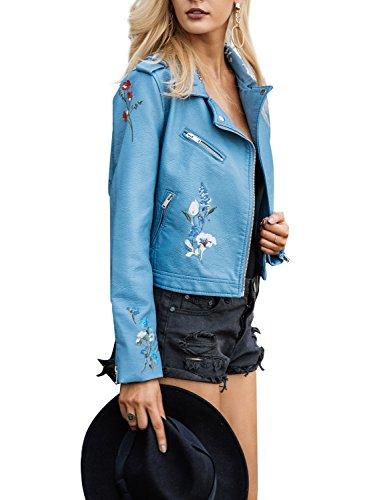 Pu Faux Cuir Court De Bleu Fermeture Éclair Veste De Moto Féminin Simplee Vêtements