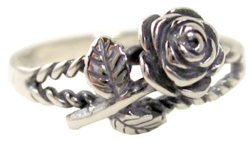 - Sterling Silver Polished Long Stem Rose Ring Softly Oxidized Finish Love Ring (8)
