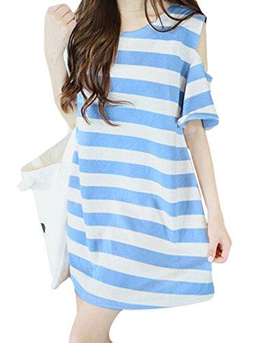 Woman Stripes Cold Shoulder Round Neck Tunic Dress Light Blue White XS
